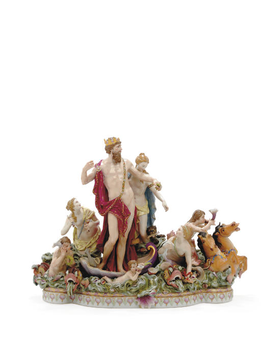 A MEISSEN FIGURE GROUP, 'NEPTUNE AND THETIS'