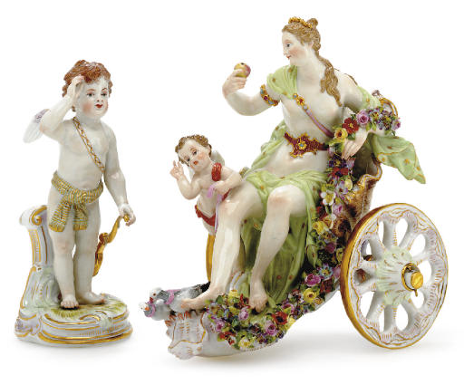 A MEISSEN CHARIOT GROUP AND A