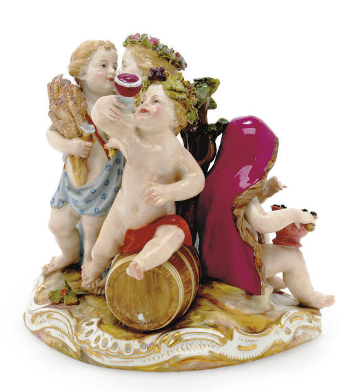 A MEISSEN FIGURE GROUP EMBLEMATIC OF THE SEASONS