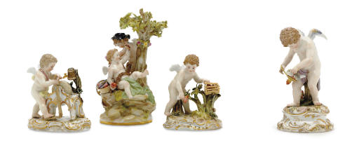 FOUR MEISSEN MODELS OF PUTTI E