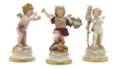THREE MEISSEN FIGURES OF PUTTI