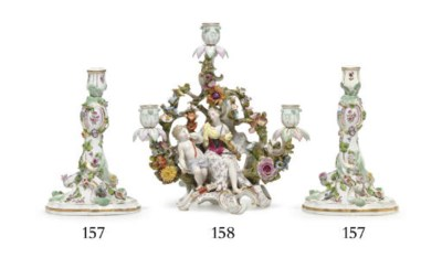 A PAIR OF MEISSEN FLOWER-ENCRU