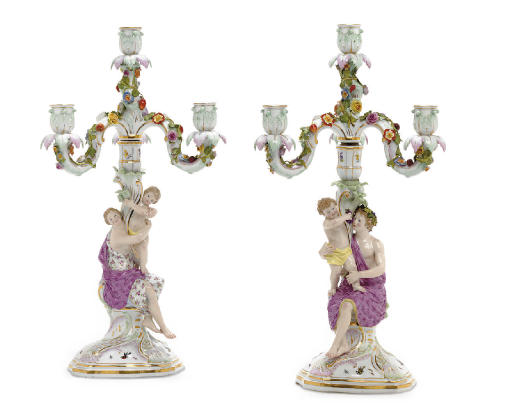 A PAIR OF MEISSEN FLOWER-ENCRUSTED FOUR-LIGHT CANDELABRA