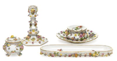 FOUR MEISSEN FLOWER-ENCRUSTED