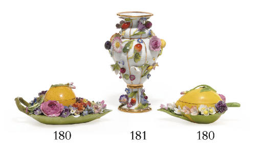 TWO MEISSEN FLOWER-ENCRUSTED F