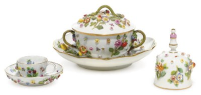 THREE MEISSEN FRUIT AND FLOWER