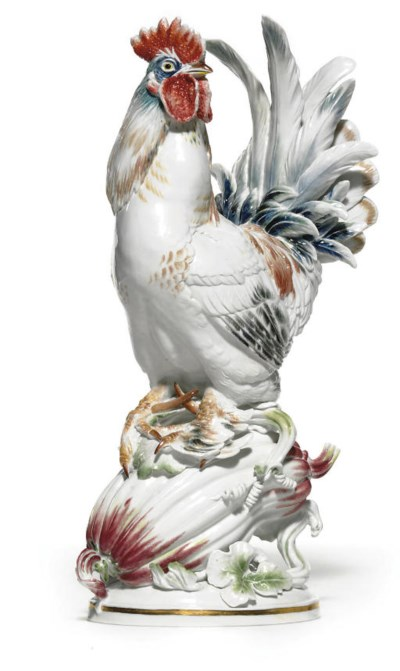 A MEISSEN MODEL OF A COCKEREL
