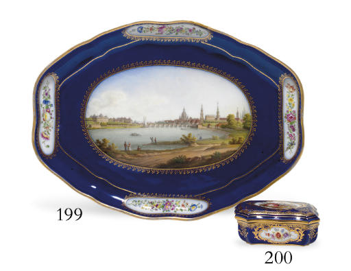 A MEISSEN COBALT-BLUE GROUND M