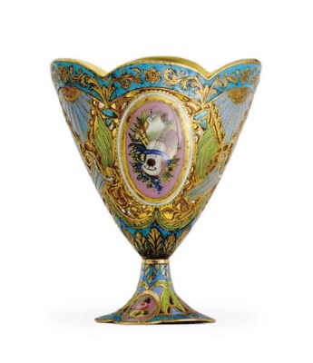 A SWISS GOLD AND ENAMEL ZARF