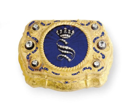 A GERMAN GOLD, ENAMEL AND GEM-