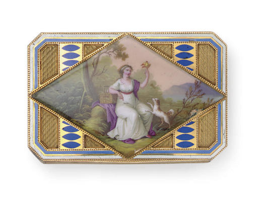 A SWISS GOLD AND ENAMEL SNUFF BOX