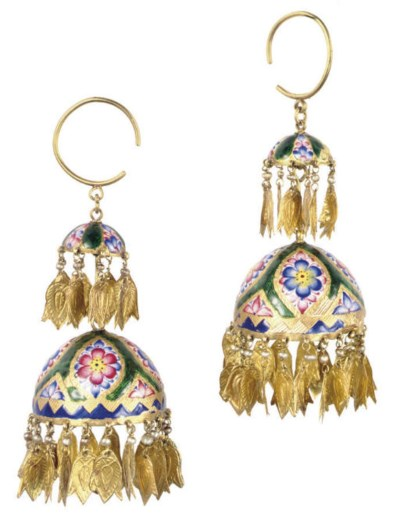 A PAIR OF PERSIAN GOLD AND ENA