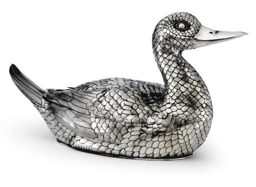 AN ITALIAN SILVER DUCK-FORM TU