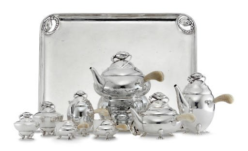 A DANISH SILVER TEA AND COFFEE