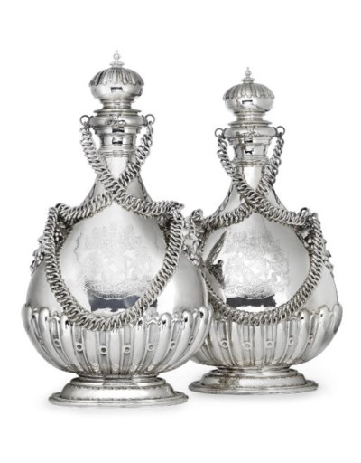 A PAIR OF GEORGE V SILVER PILG