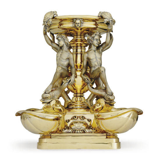 ROYAL: A MONUMENTAL VICTORIAN SILVER-GILT CENTERPIECE AFTER THE FONTANA DELLE TARTARUGHE