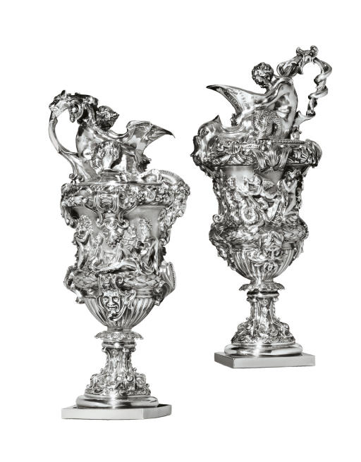 A PAIR OF VICTORIAN SILVER EWERS