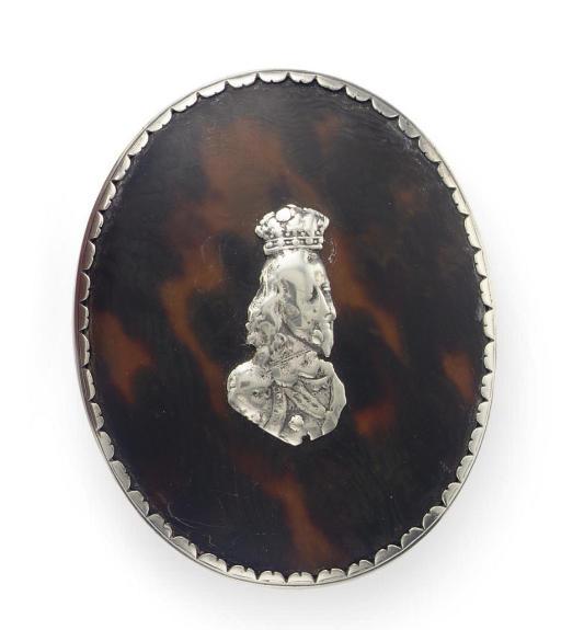A CHARLES II SILVER-MOUNTED TORTOISESHELL TOBACCO BOX**