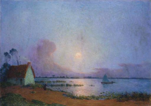 Nuit bleutée sur le marais de la Grande Brière