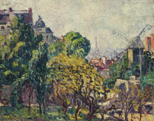 Vue du Moulin de la Galette et de la Tour Eiffel