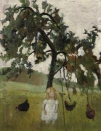 Elsbeth mit Hühnern unter Apfelbaum