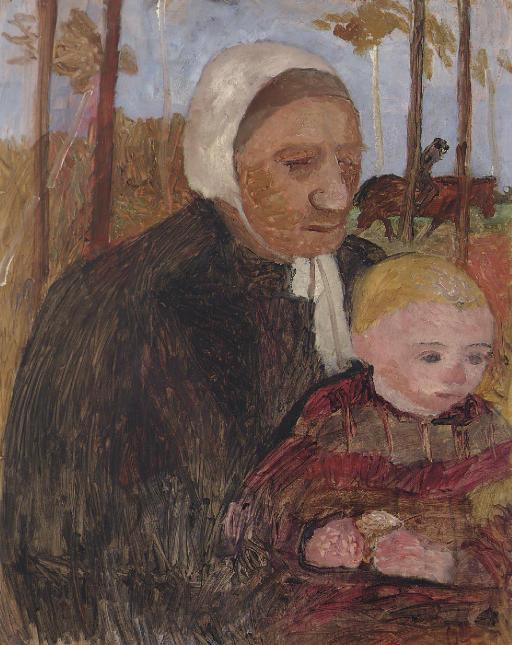 Bäuerin mit Kind, im Hintergrund ein Reiter