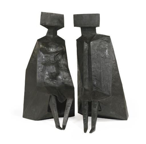 Lynn Chadwick (1914-2003), Sitting Figures, 1979-1980. Bronze. Executed in 1979-1980. Female 71 x 33 x 48 in (180.3 x 83.8 x 121.9 cm). Male 76 x 37 x 56 in (193 x 94 x 142.2 cm). Sold for $601,000 on 14 November 2007 at Christie's in New York.© Lynn Chadwick  Bridgeman Images