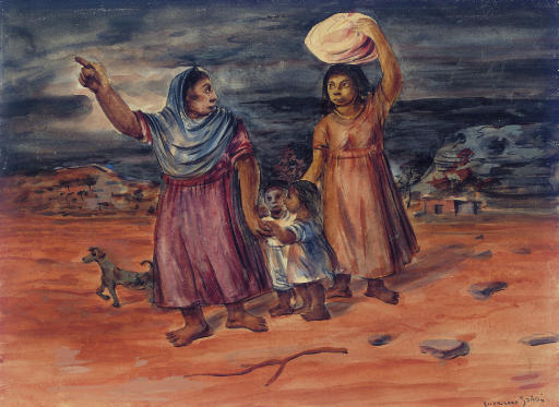 Mujeres y niños en camino