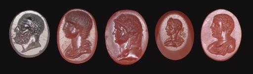 FIVE GREEK AND ROMAN RING STON