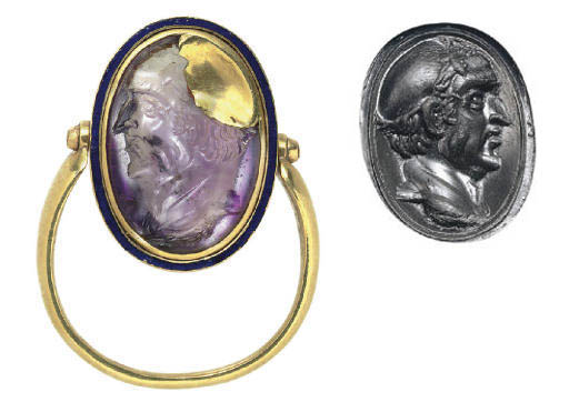 A ROMAN AMETHYST RING STONE