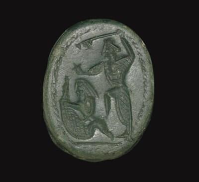 A PHOENICIAN GREEN JASPER SCAR
