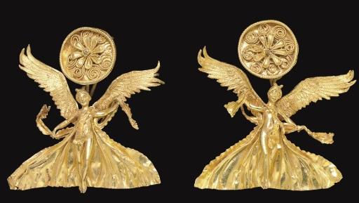 A PAIR OF GREEK GOLD NIKE EARR