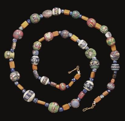 A ROMAN GLASS MOSAIC BEAD NECK