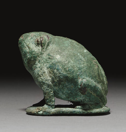 AN EGYPTIAN BRONZE TOAD