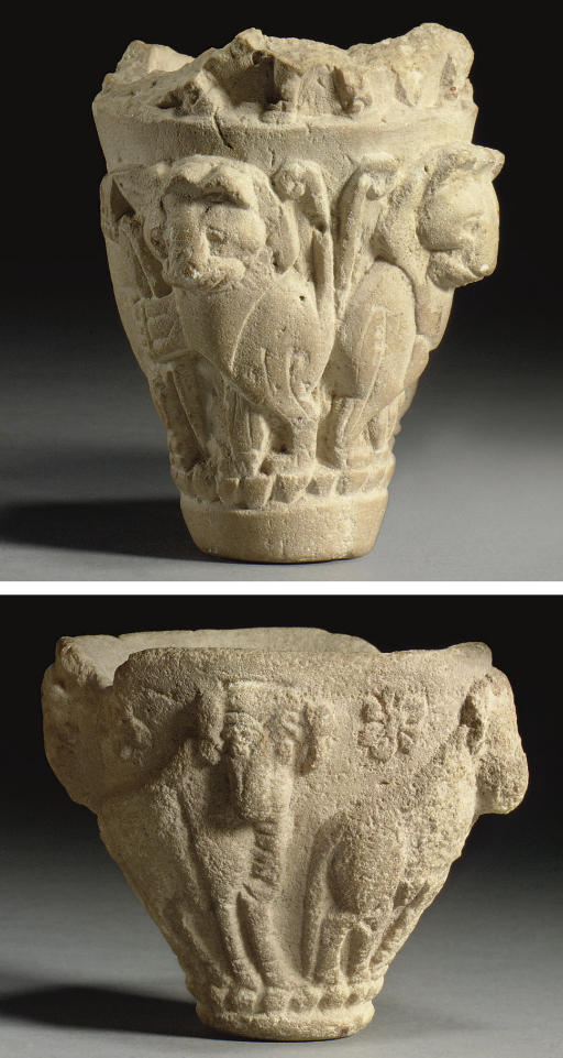 TWO SUMERIAN LIMESTONE CUPS