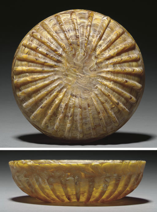 A ROMAN MOSAIC GLASS RIBBED BO