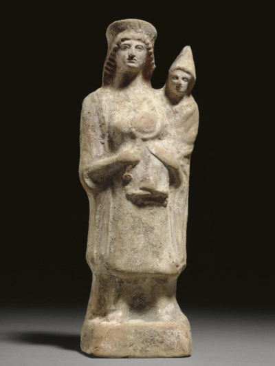 A GREEK TERRACOTTA MOTHER AND