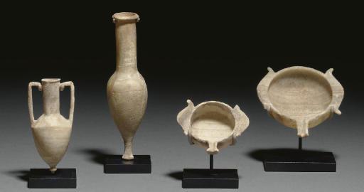 FOUR GREEK ALABASTER VESSELS