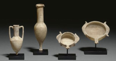 FOUR GREEK ALABASTER VESSELS