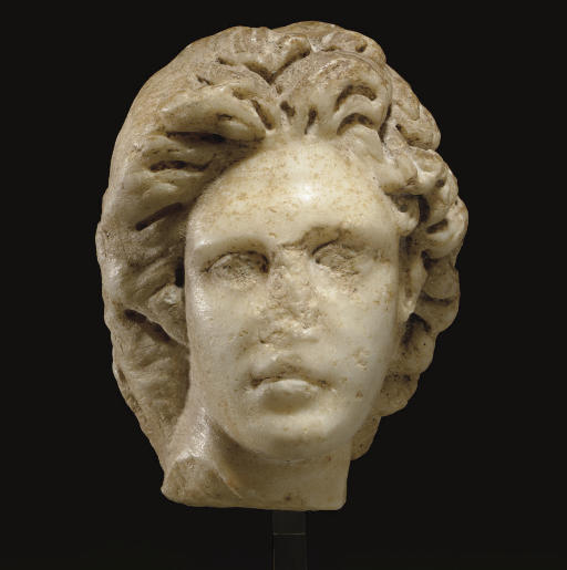 A ROMAN MARBLE MALE HEAD