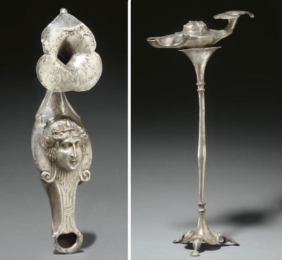 A BYZANTINE SILVER LAMP AND ST
