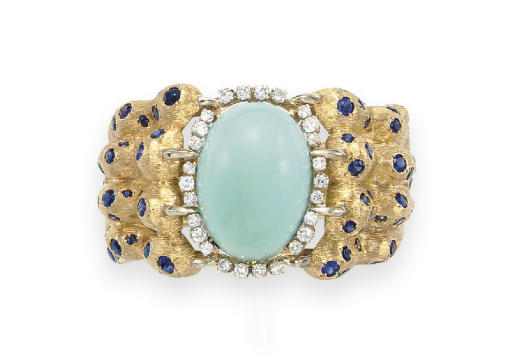 A TURQUOISE, DIAMOND AND SAPPH