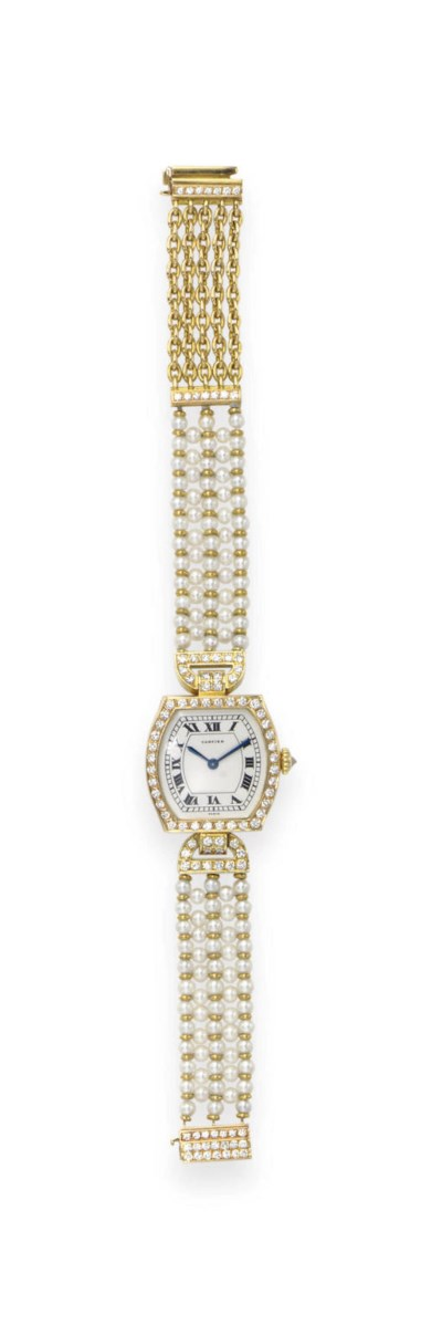 A PEARL AND DIAMOND WRISTWATCH