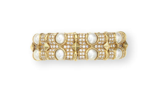 A CULTURED PEARL, DIAMOND AND