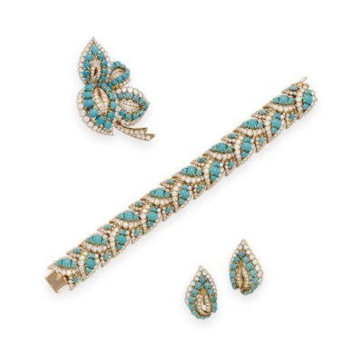 A SET OF TURQUOISE AND DIAMOND