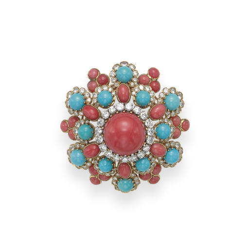 **A CORAL, TURQUOISE AND DIAMO