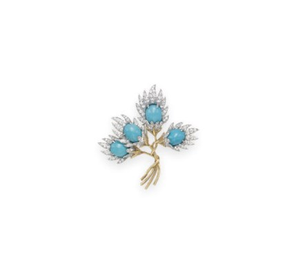 A TURQUOISE AND DIAMOND FLORAL