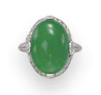 A JADEITE AND DIAMOND RING, BY