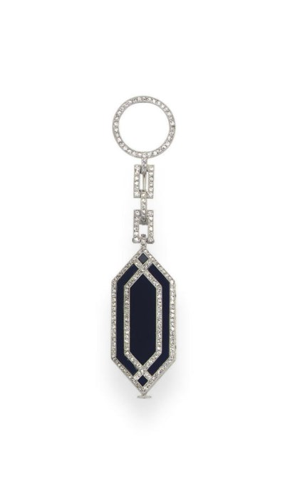 AN ART DECO ONYX AND DIAMOND L