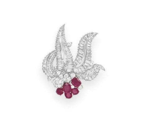 A RUBY AND DIAMOND BROOCH